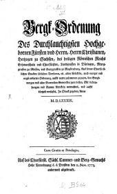 Bergordnung des Christian Herzogs zu Sachsen