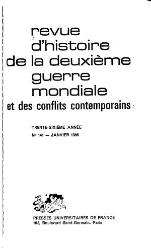 Revue d histoire de la deuxi  me guerre mondiale et des conflits contemporains PDF