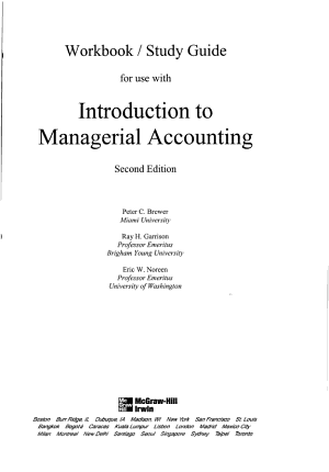 Workbook Study Guide for Use with Introduction to Managerial Accounting PDF