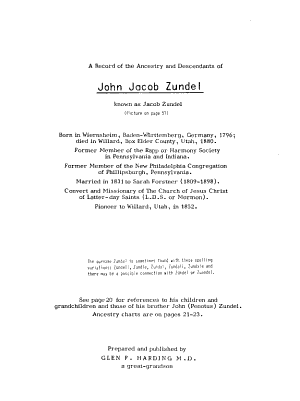 A Record of the Ancestry and Descendants of John Jacob Zundel  Known as Jacob Zundel