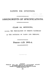 Patents for Inventions Class 120 A.D. 1901-4