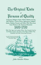 The Original Lists of Persons of Quality
