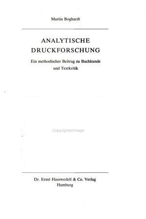 Analytische Druckforschung PDF