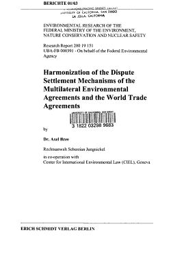 Harmonization of the Dispute Settlement Mechanisms of the Multilateral Environmental Agreements and the World Trade Agreements PDF
