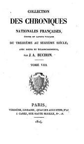 COLLECTION DES CHRONIQUES NATIONLES FRANCAISES,