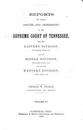 Reports of Cases Argued and Determined in the Supreme Court of Tennessee: Volume 88