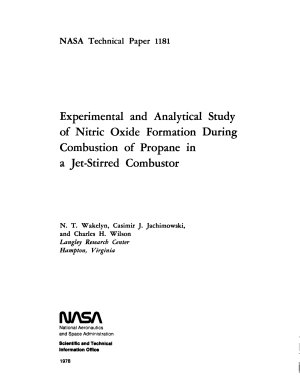 Experimental and Analytical Study of Nitric Oxide Formation During Combustion of Propane in a Jet stirred Combustor PDF