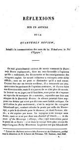 Réflexions sur an article de la Quarterly Review, relatif à la communication des eaux du lac Tchad avec le Nil d'Egypte