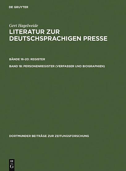 Personenregister   Verfasser und Biographien   PDF