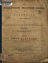De inscriptione Phoenicio-Graeca in Cyrenaica: numper reperta ad Carpocratianorum Haeresin pertinente commentatio