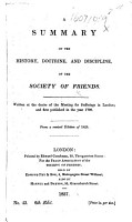 A Summary of the History  Doctrine  and Discipline  of the Society of Friends     6th edit PDF