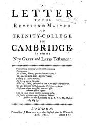 A Letter [signed: Philalethes] to the Reverend Master of Trinity-College in Cambridge, editor of a new Greek and Latin Testament [i.e. Richard Bentley].: Page 1; Page 12; Page 16; Page 24; Page 26; Page 28; Page 39
