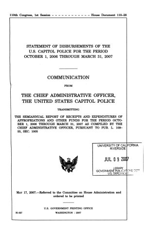 Statement of Disbursements of the U S  Capitol Police for the Period