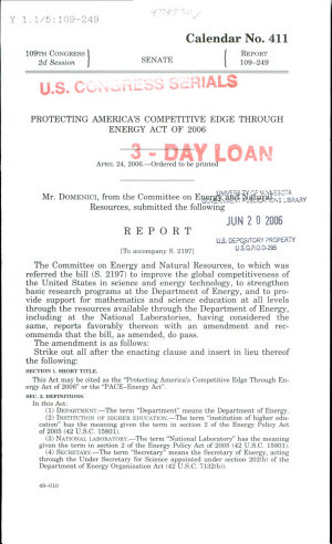 Protecting America s Competitive Edge through Energy Act of 2006