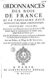 Ordonnances des Rois de France de la 3e Race, recueillies par ordre chronologique...