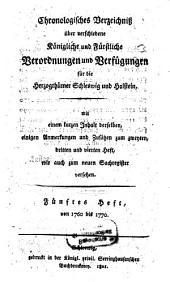 Chronologisches Verzeichniß über verschiedene königliche und fürstliche Verordnungen und Verfügungen für die Herzogthümer Schleswig und Holstein: Band 5