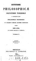 Institutiones Philosophic   Salvatoris Tongiorgi e Societate Jesu philosophi   professoris in Collegio Romano ejusdem societatis PDF