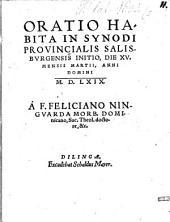 Oratio: habita in Synodi provincialis Salisburg