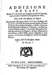Addizione de' capi anche di vari autori per maggior comdo de' speziali, e per accertare l'uniforme manipolazione d'essi, ..