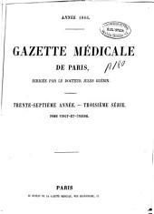 Gazette médicale de Paris: Volume37,Numéros1à52