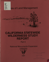 California Statewide Wilderness Study Report: National monuments expansion