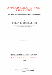 Appraisements and asperities as to some contemporary writers