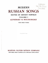 Modern Russian Songs: Volume I Alpheraky to Moussorgsky for High Voice