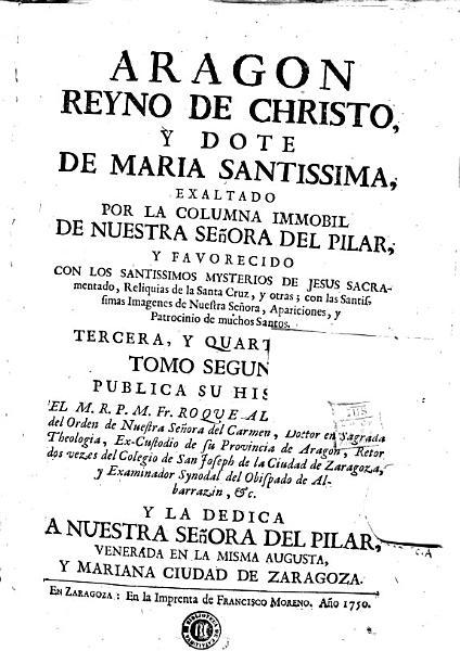 Aragon reyno de Christo  y dote de Maria Santissima