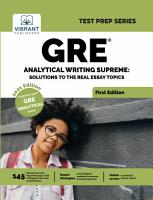 GRE Analytical Writing Supreme  Solutions to Real Essay Topics PDF