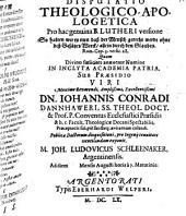 Disp. theol. apolog. pro hac genuina B. Lutheri versione: So halten wir es nun, daß der Mensch gerecht werde ohne deß Gesätzes Werck, allein durch den Glauben, Rom. Cap. 3, versic. 28
