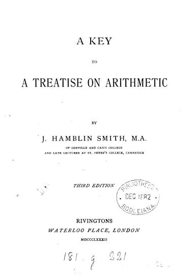 A key to A treatise on arithmetic PDF