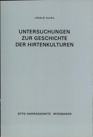 Untersuchungen zur Geschichte der Hirtenkulturen PDF
