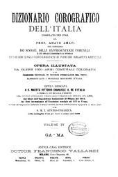 Dizionario corografico dell'Italia: opera illust[r]ata da altre 1000 armi comunali colorate .... Ga-Ma. IV.