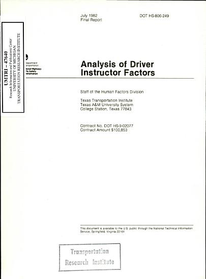 Analysis of Driver Instructor Factors  Executive Summary  Final Report PDF