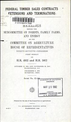 Federal Timber Sales Contracts Extensions and Terminations