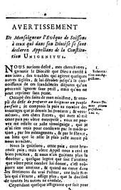 Avertissement de Monseigneur l'Evêque de Soissons à ceux qui dans son Diocése se sont declarez Appellan de la Constitution Unigenitus