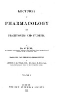 Lectures on Pharmacology for Practitioners and Students PDF