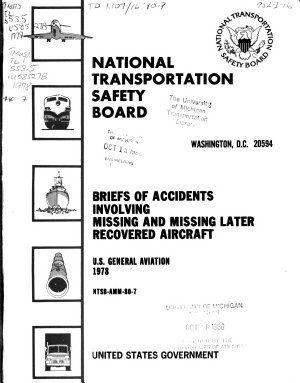 Briefs of Accidents Involving Missing and Missing Later Recovered Aircraft  U S  General Aviation