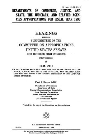 Departments of Commerce  Justice  and State  the Judiciary  and Related Agencies Appropriations for Fiscal Year 1990 PDF
