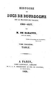 Histoire des ducs de Bourgogne de la maison de Valois, 1364-1477: Table