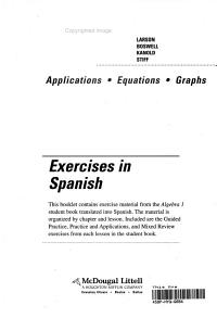 Algebra 1  Grades 9 12 Exercises in Spanish