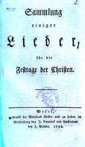 Sammlung einiger Lieder, für die Festtage der Christen