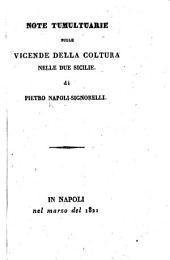 Note tumultuarie sulle Vicende della coltura nelle Due Sicilie di Pietro Napoli-Signorelli