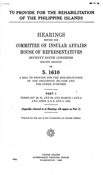 Download To Provide for the Rehabilitation of the Philippine Islands Book