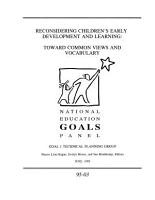 Reconsidering Children s Early Development and Learning Toward Common Views and Vocabulary PDF