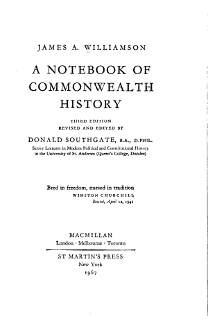 A Notebook of Commonwealth History PDF