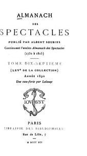 Almanach des spectacles: Volumes17à18