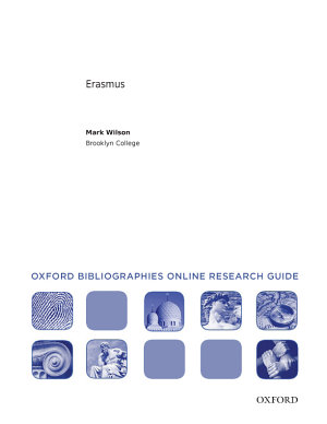 Erasmus  Oxford Bibliographies Online Research Guide PDF
