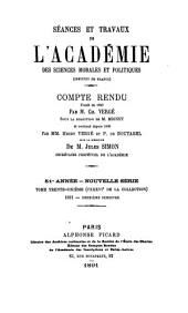 Séances et travaux de l'Académie des sciences morales et politiques, compte rendu: Volume36;Volume136