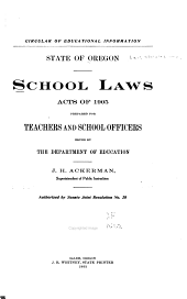 School Laws: Acts of 1905 ... Issued by the Department of Education ...